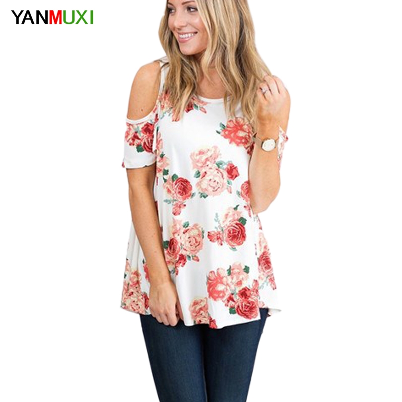 2017 New Floral Print T Shirts Women Clothes Sexy Off Shoulder Loose Top O Neck Batwing Sleeve Casual Summer Long Blusa