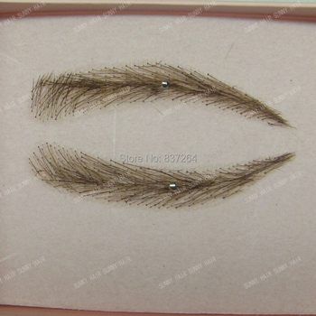 whole sale hand made human hair false eyebrow 013 dark brown color invisible net