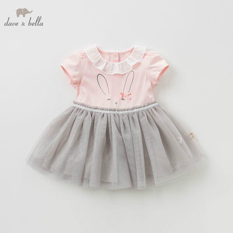 DBM10314 DAVE BELLA summer baby girl clothes children birthday party wedding dress kids lolita boutique dresses