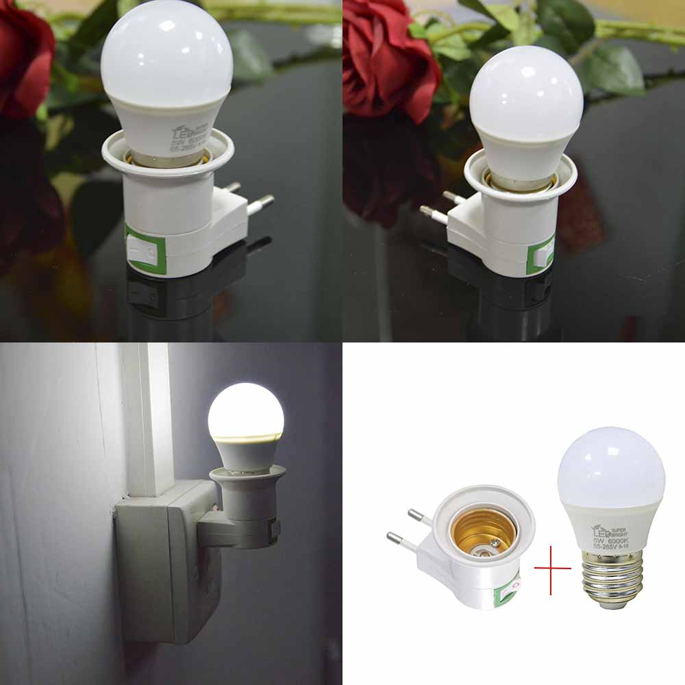 Energy 5W Led Night Light  With EU 5W Lamp Bulb Bedroom Bookcase Night Light Home Decor