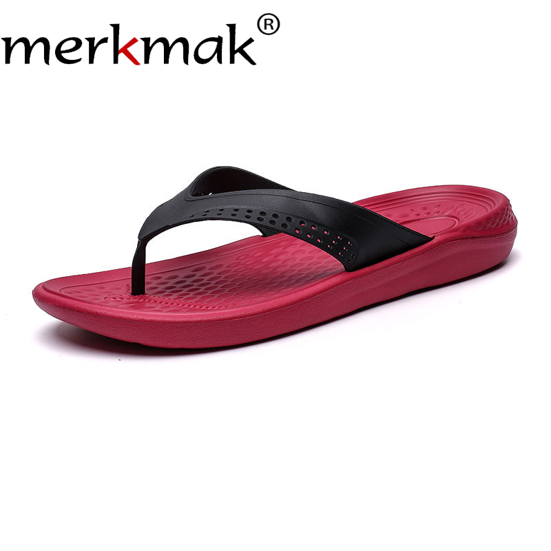 Merkmak 2019 Summer Men Flat Slippers Non-slip Big Size Flip Flops Beach Outdoor Men Casual Shoes Fashion Breathable Male Shoes