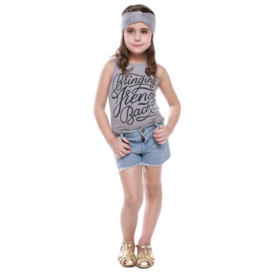 2016 Brand Summer Girls Clothes Sets Tank Tops T Shirt -6620