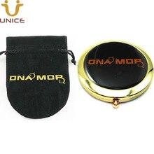 100pcs/lot Custom Your Logo Gold Color Compact Mirror Makeup Pocket & Customized Velvet Pouch Golden Foldable