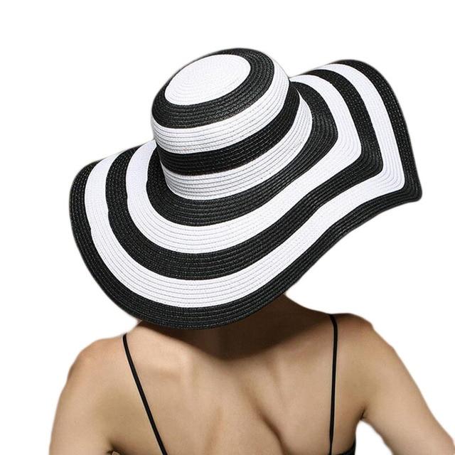 Bingyuanhaoxuan women's 2018 straw panama sun hat black striped overflowed floppy fashion