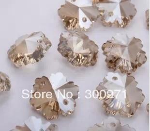 1000pcs/lot, cognac color, Snowflake Crystal Loose Beads 14mm, DIY Crystal Garlands/ Strand, Wedding/ Cake Decor, freeshipping