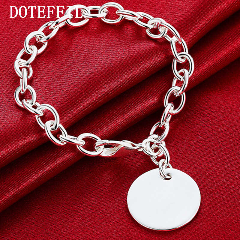 925 Silver Color Round Brand Bracelet Female Classic All-Match Temperament Fashion A Birthday Present Wholesale Jewelry