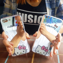 Cartoon Mirror Hello Kitty Soft Gel Phone Cases For iPhone 8 8plus 7 7plus 6 6s plus Ultra Slim Clear Plating Coque Capa Fundas(China)