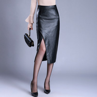 2018 High Waist Bodycon Winter Skirt Women Sexy Split PU Leather Skirts Womens Slim Long Pencil Skirt Plus Size 4XL Office Skirt