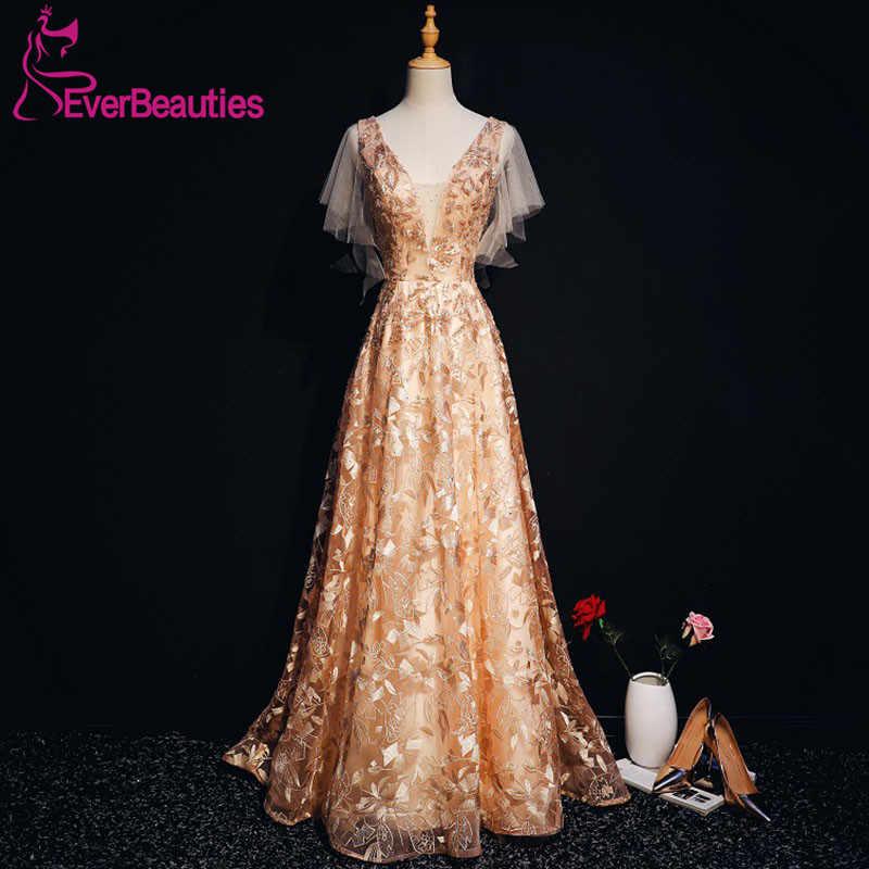 Вечерние платья Длинные 2019 с v-образным вырезом кружева тюль бисером элегантные платья для вечеринки вечерние платья Robe De Soiree длинное вечернее платье