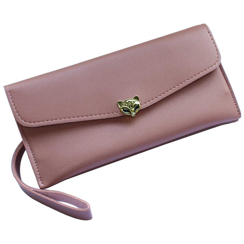 נשים שקיות שועל כסף ארוך ארנקי גברת ארנקים נקבה Zippe ארנק מטבעות Pocke תעודת זהות כרטיס מצמד מעטפת תיק Wristlet ארנק