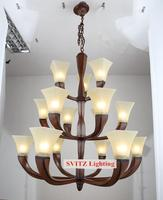 XL Large hotel lobby chandelier lamp for Penthouse American white glass lampshade hanging chandelier lighting E27 LED lamparas