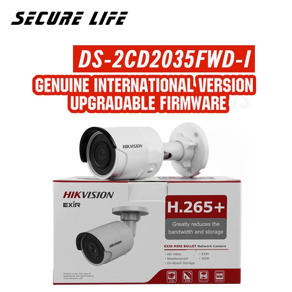 O envio gratuito de versão Em Inglês DS-2CD2035FWD-I 3MP Ultra-Low Luz Rede mini Bala Câmera de segurança CCTV IP POE cartão SD h.265 +