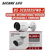 משלוח חינם אנגלית גרסה DS 2CD2035FWD I 3MP במיוחד נמוך אור רשת bullet אבטחת CCTV מצלמה POE SD כרטיס h.265 +