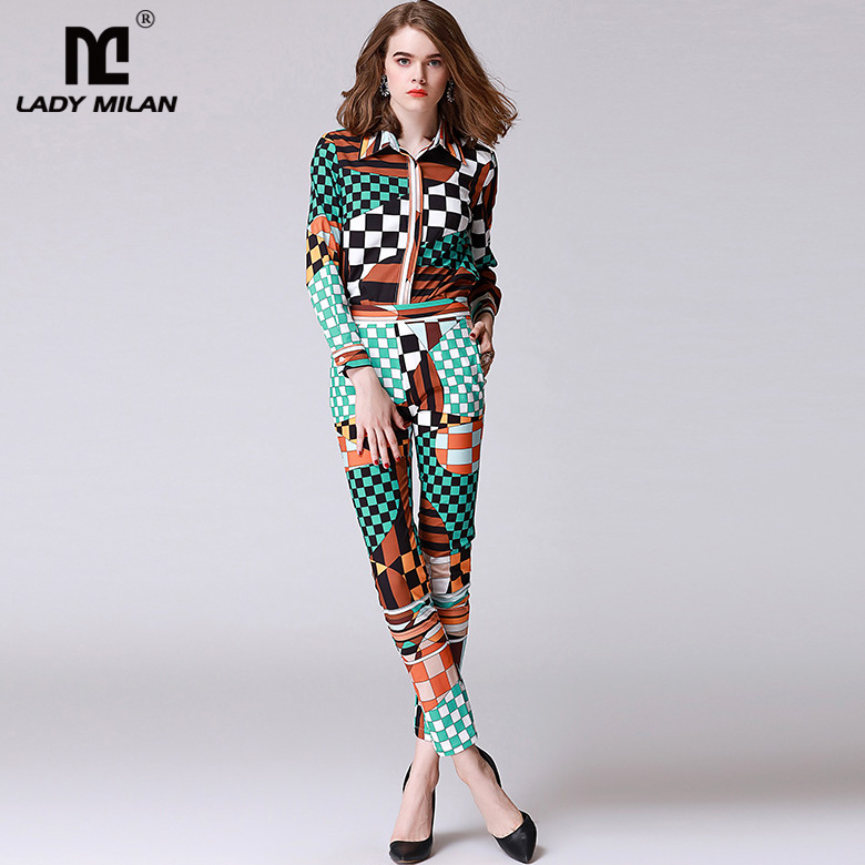 New Arrival Womens Turn Down Collar Long Sleeves Printes Shirts with Long Floral Pants Fashion Two Piece Casual Sets