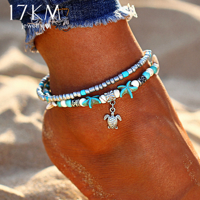 17KM Bohemian Wave Anklets For Women Vintage Multi Layer Bead Anklet Leg Bracelet Sandals Boho DIY Summer Charm Jewelry 1