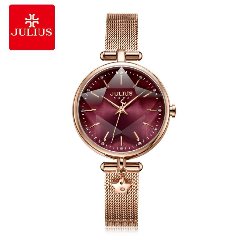 Julius Watch Romantic Pentagram Pendant Round Women s Stainless Steel High Quality Purple Sparkling Dial Gift