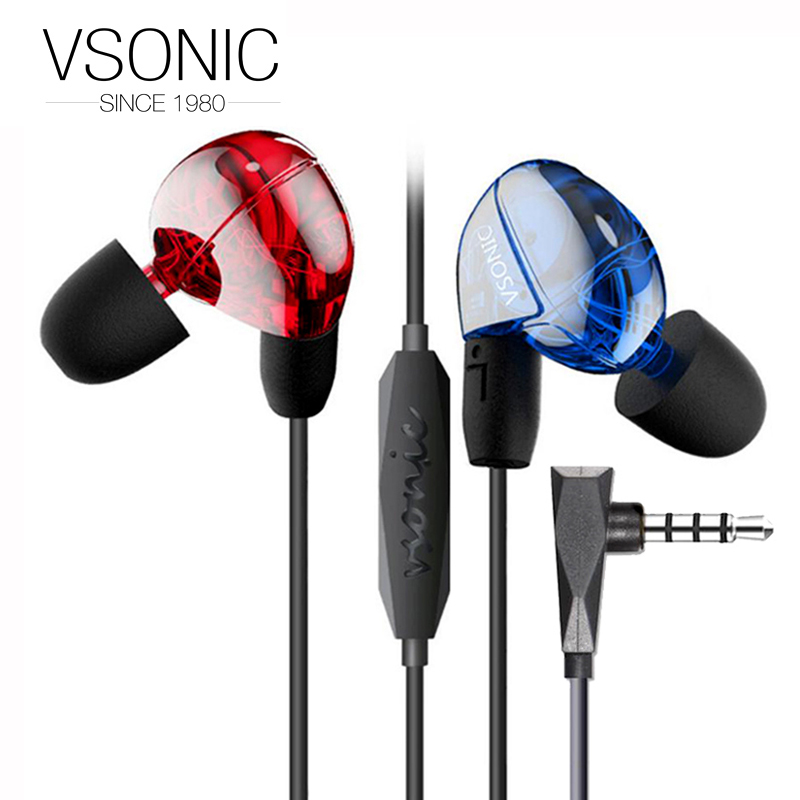 VSONIC NEW VSD2Si with Microphone Professional Noise-isolation HIFI Inner-Ear Earphone Headset Earbugs VSD2S i vsonic vsd1si with microphone vsd1s professional noise isolation hifi earphones earbuds headset