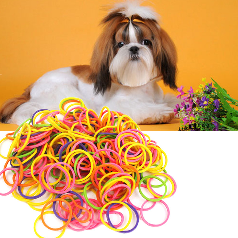 1pack font b Pet b font Rubber Bands Mixed Color Dog Grooming Elastic Band High Elasticity