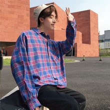 Fashion Casual Mens Shirt Spring And Autumn New S-2XL Plaid Loose Jacket Blue Yellow Personality Youth Popular