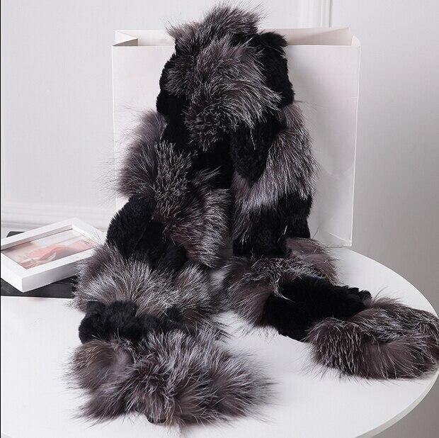Vente chaude naturel fourrure de renard argenté avec noir rex de fourrure  de lapin écharpe pour femmes doux chaud de fourrure echarpes wrap cap châle  ... ae5835b71fe