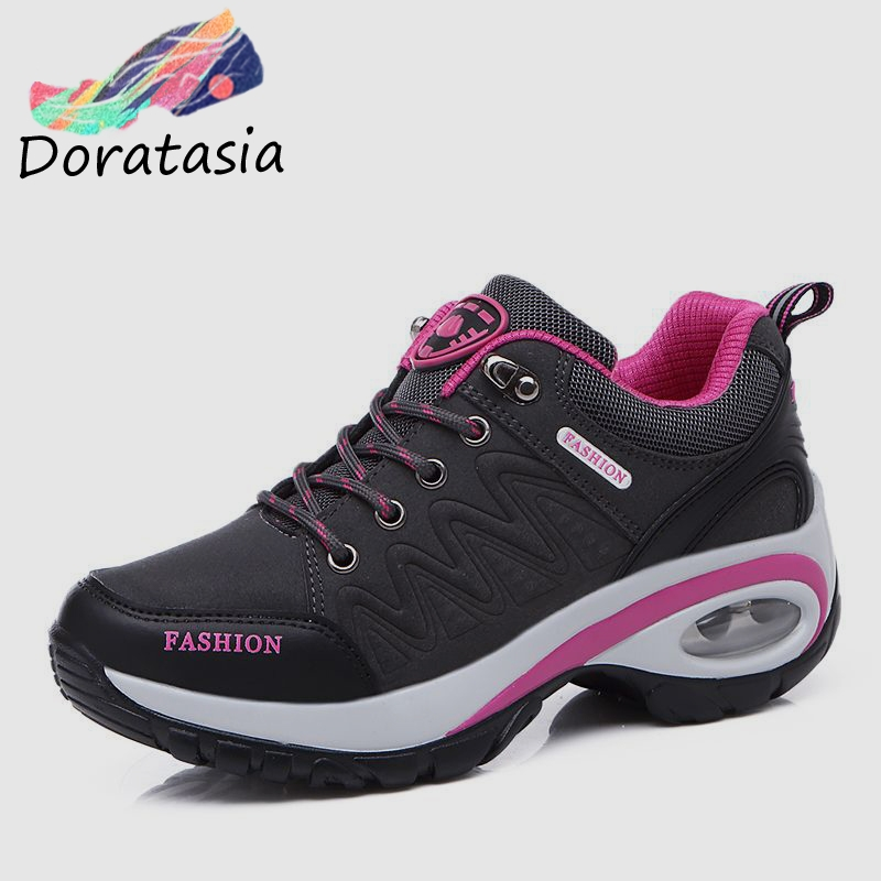 DORATASIA Spring New Climbing Shoes Woman Genuine   Leather     Suede   Daily Casual Sneakers Women lace-up Platform High Footwear Woman