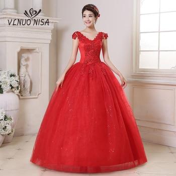 Romantic Red Wedding Dress Korean Style Fashion V-Neck Appliques Plus Size Gown Cheap Bridal Vestidos De Noiva - discount item  34% OFF Wedding Dresses
