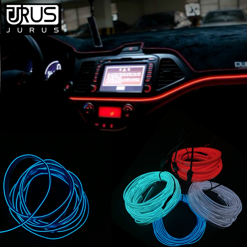 JURUS 2Pcs 1 2 3Meter Led Interior Lamp Car Lights El Wire 12V Inverter Flexible Neon Cold Light Line Strip Car Accessories Lamp in Signal Lamp from Automobiles Motorcycles