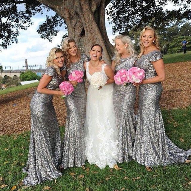 Shinny Grey Bridesmaid Dresses Sequined With Short Sleeves Mermaid Dress Plus Size Long Wedding Party
