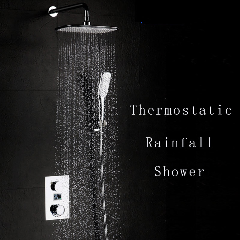 Thermostatic Shower Faucets Set Brass Rainfall ABS Shower Digital Display Need Electricity Supply Shower Rain Hand Hold Showers