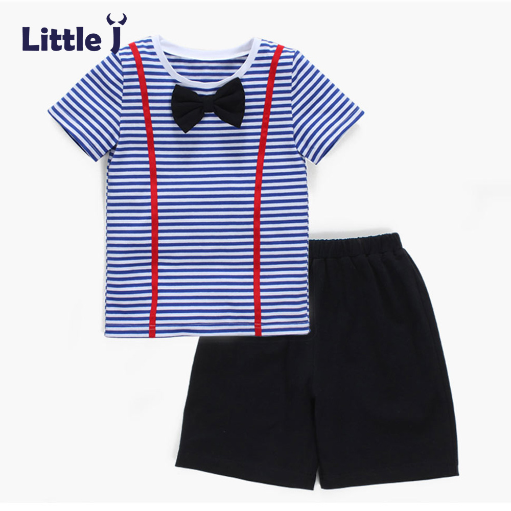 Clearance Bow Tie Gentleman Baby Boy Clothes Set 2Pcs Blue Stripe T-Shirts+Black Pants Outfit Wedding pro Suits Kids Attire 1-5Y