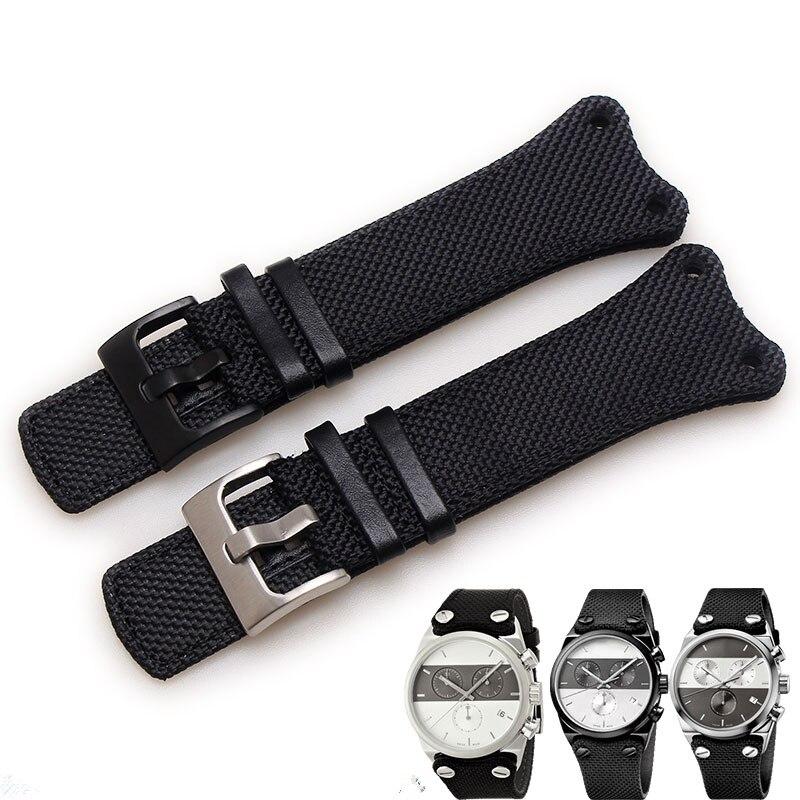 TJP 30mm Noir Toile En Cuir Bracelets Bracelet Pour CK K4B381B6 K4B381B3 K4B384B6 Bracelet Bracelet