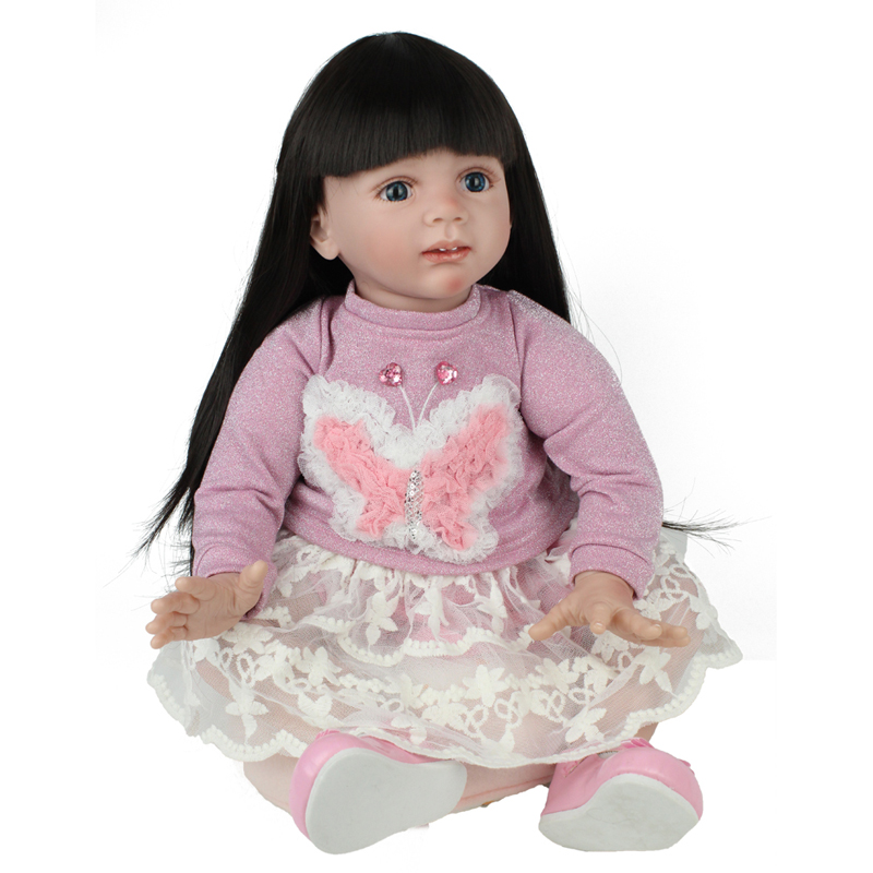 Reborn Doll Lifelike Newborn Baby 24 inch Pink Princess Dress Flower Girl Christmas Gift Birthday Toys