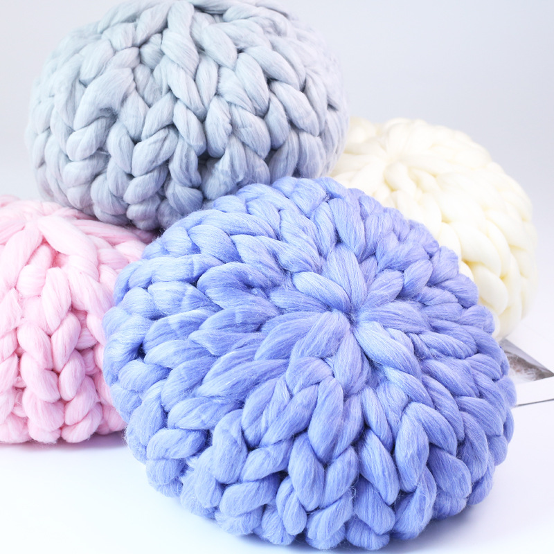 Round Crochet Chunky Wool Pillow Handmade Knitting Cushions INS Nordic Kids Baby Room Decorative Pillows Sofa Bed Home Decor