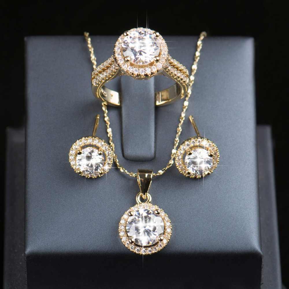 90% Off Set Perhiasan Pernikahan untuk Pengantin Wanita 925 Sterling Perak Set Warna Emas Anting-Anting Anting-Anting Cincin Kalung Perhiasan Pengantin