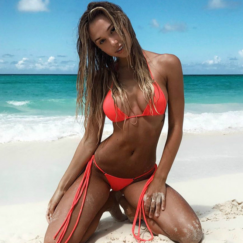 (get 8$ coupon off ) 4.99 only Cheap Bikini Solid Classic Thong Bikini Women's Swimwear Summer Beach String Bikinis Sexy Female minimal coverage sunbathing micro bikini teardrop mini g string 2piece bikinis thong