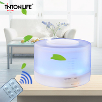 500ml Remote Control Colorful LED Light Aromatherapy Air Humidifier Ultrasonic Mist Maker Wood Aroma Lamp Essential