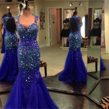 Robe De Soiree 2016 Nouveaute Sexy Open Back Royal Blue Kristalle Abendkleider Lang Mermaid Kleider