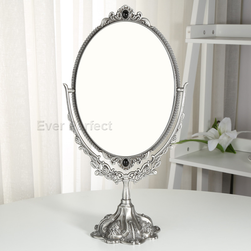 Ancient Bronze Retro Metal Desktop Cosmetic Makeup Mirror Table Dresser Mirror Best Gift For Girl