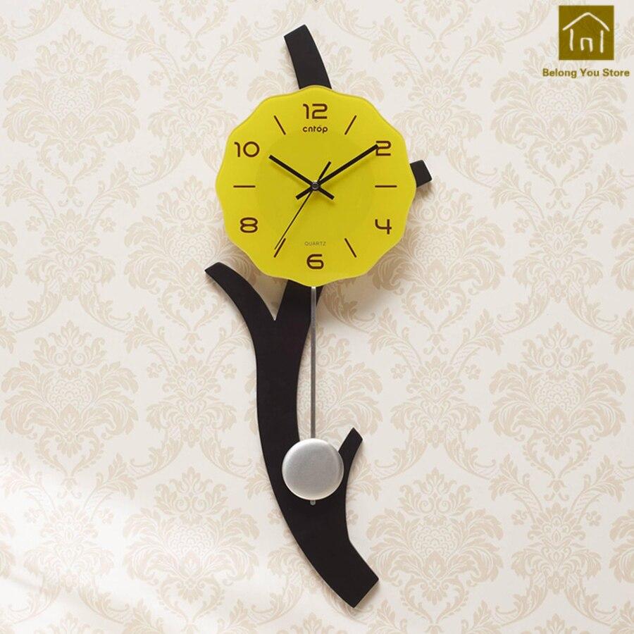 Art créatif salon horloge mur pastorale cloche autocollants horloge murale silencieux Vintage décor à la maison Wanduhren rétro horloge LKP170