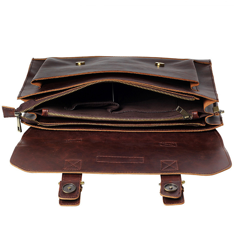 HTB1HCGrg5qAXuNjy1Xdq6yYcVXaQ Crazy Horse PU Leather Men Briefcase Famous Brand Men's Messenger Bag Male Laptop Bag Business Fashion Shoulder Bags Travel Bag