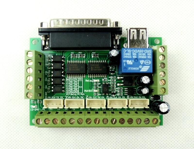 5-осевой адаптер интерфейса ЧПУ Mach3, плата контроллера для драйвера шагового двигателя без USB кабеля и кабеля DB25