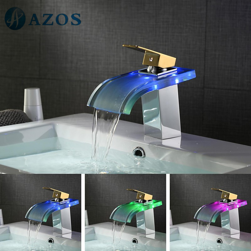 Bathroom Basin Faucets LED Light Nickel Brush Golden /Chrome Polished Waterfall Spout Deck Mounted Toilet Furnitures MPPB033G