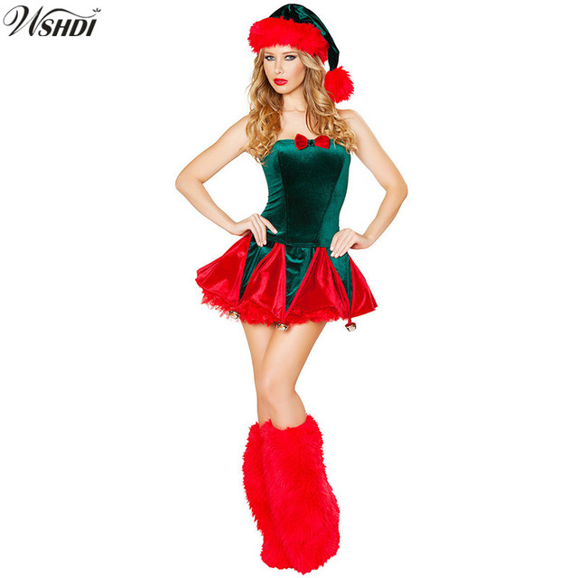 3 Pcs Fashion Sexy Green Christmas tree Costumes Christmas Party Dress  Santa Claus Costumes for Adults 0e22400d7d43
