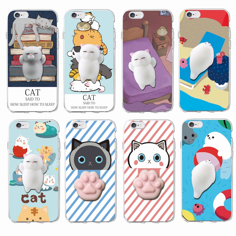 Cover iphone 5 squishy - Cute Lucky Cat Kitty Squishy Cartoon Animals Seal Anti Stress Anxiety Soft Phone Case For Iphone