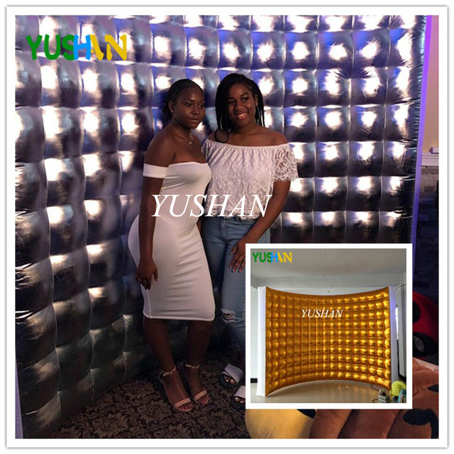 3m Silver or Gold LED Inflatable Photo booth Wall Backdrop with Multi Color LED lights and Air Blower Inflatable Wall For Party