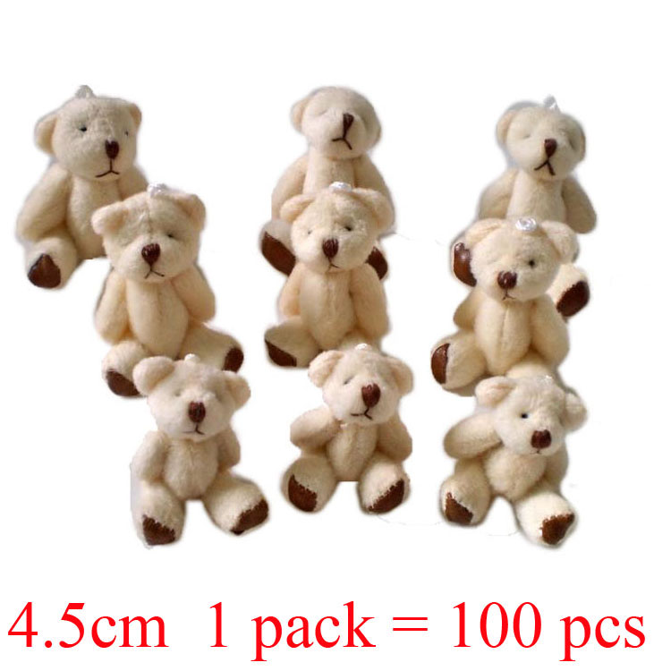 1 lot 1pack 100pcs 4 5cm Mini Joint Bear Plush toys Wedding Couple gifts Children s