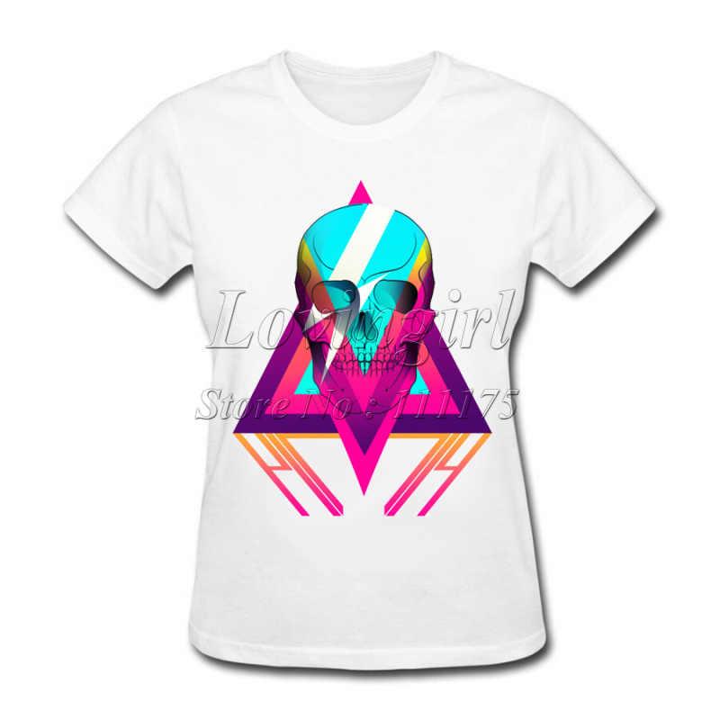 2018 Новая модная женская футболка с 3D принтом черепа Популярные топы Модные женские повседневные футболки с коротким рукавом