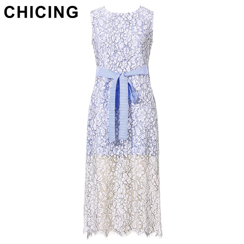 2ee2db7f7d164 CHICING Elegant Floral Lace Patchwork Striped Shirt Midi Dress 2018 ...