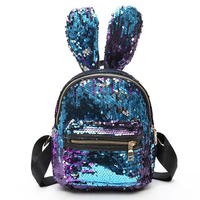 c125631324f4 Для девочек рюкзак с блестками мода заячьи ушки милый маленький школьная  сумка для девочек-подростков