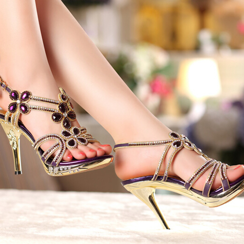 Spring Summer Rhinestone Ankle Strap Formal Dress Shoes Women High